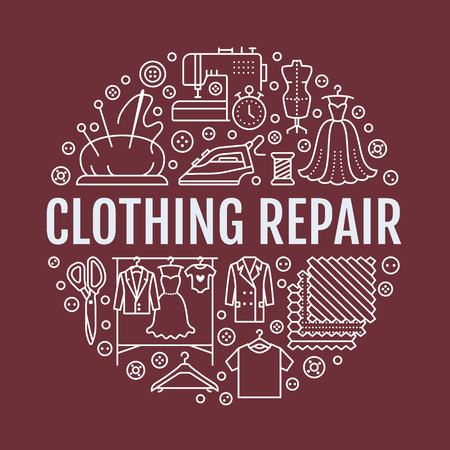 Clothing repair, alterations studio equipment banner illustration. Vector line icon of tailor store services.
