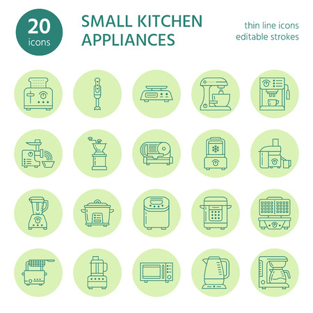 Kitchen small appliances line icons. Household cooking tools signs. Food preparation equipment.