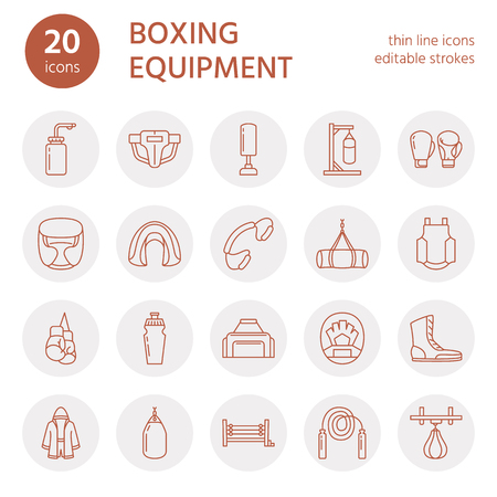 Boxing vector line icons.