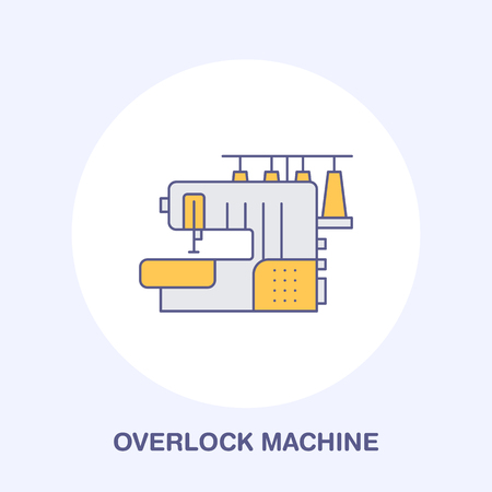 Sewing machine overlock flat line icon, logo. Vector colored illustration of tailor supplies for hand made shop or dressmaking service. Stock Photo