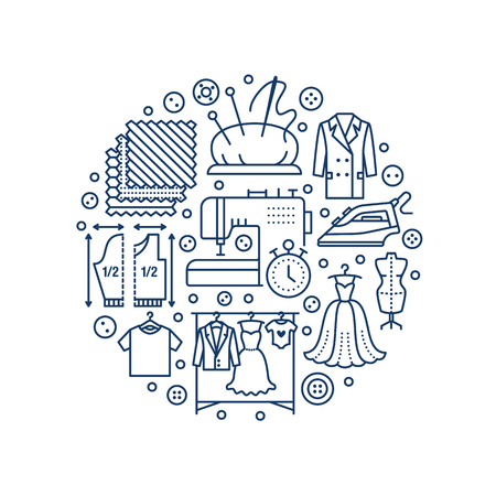 flat iron: Clothing repair, alterations studio equipment banner illustration. Vector line icon of tailor store services - dressmaking, clothes steaming.
