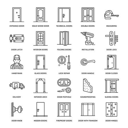 Doors installation repair line icons. Various door types handle latch lock  sc 1 st  123RF Stock Photos & Doors Installation Repair Line Icons. Various Door Types Handle ... pezcame.com