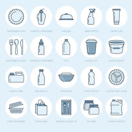 プラスチック包装、使い捨て食器ライン アイコン。製品パック、コンテナー、ボトル、パケット、キャニスター、プレート、カトラリー。