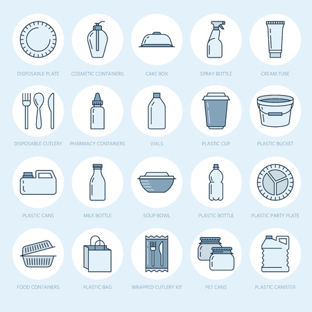 Plastic packaging, disposable tableware line icons. Product packs, container, bottle, packet, canister, plates and cutlery.