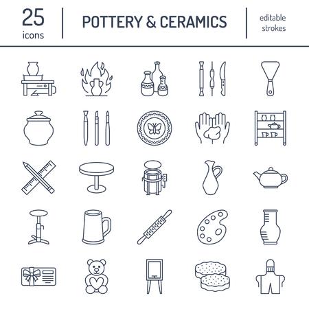 Aardewerk workshop, keramiek klassen lijn iconen. Klei studio tools tekenen. Handgebouw, sculptuurapparatuur. Stock Illustratie