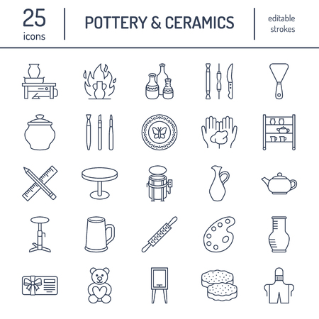 Pottery workshop, ceramics classes line icons. Clay studio tools signs. Hand building, sculpturing equipment. Illustration