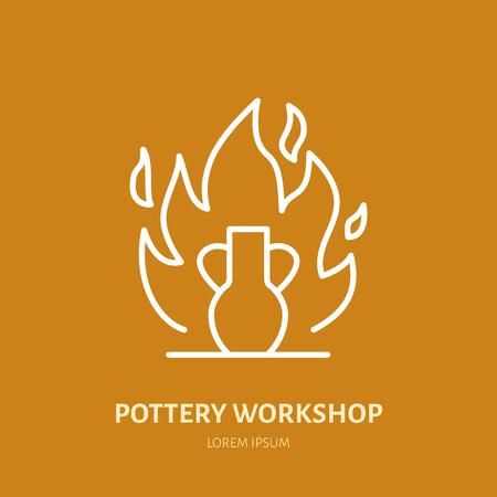 Pottery workshop, ceramics classes line icon. Clay studio tools sign. Hand building, sculpturing equipment shop sign. Illustration