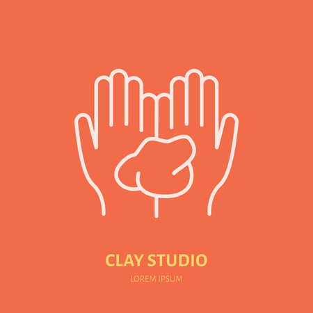 Illustration of hands holding clay. Pottery workshop, ceramics classes line icon. Clay studio sign. Hand building, sculpturing equipment shop sign.