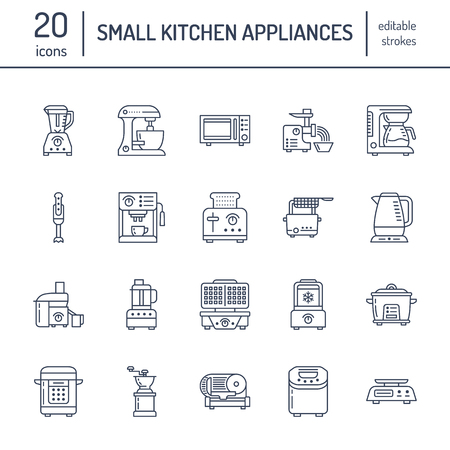 Kitchen small appliances line icons. Household cooking tools signs. Food preparation equipment - blender, coffee machine.
