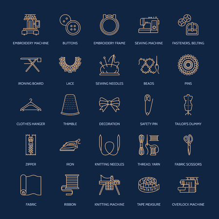 flat iron: Sewing equipment, tailor supplies flat line icons set. Needlework accessories - sewing embroidery machine, pin, needle, thread, zipper, hanger, DIY tools. Linear signs set, logos for hand made store. Illustration