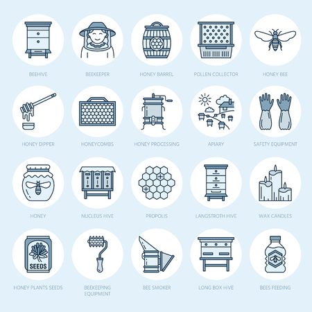 Beekeeping, apiculture line icons. Beekeeper equipment, honey processing, honeybee, beehives types, natural products. Bee-garden thin linear signs for organic farm shop.