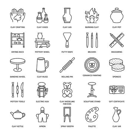 陶器のワーク ショップ、陶芸教室はラインのアイコンです。クレイ スタジオ ツール看板です。建物、ろくろ、電気窯、ツール、装置を彫刻の手で