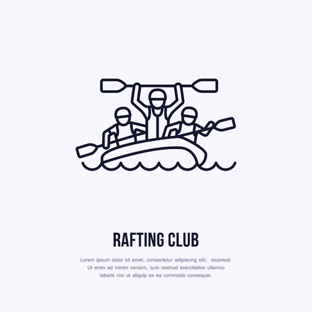 rafter: Rafting, kayaking flat line icon. Vector illustration of water sport - happy rafters with paddles in river raft. Linear sign, summer recreation pictograms for paddling gear store.