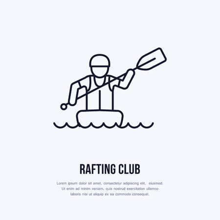 rafter: Rafting, kayaking flat line icon. Vector illustration of water sport - rafter with paddle in river raft. Linear sign, summer recreation pictogram for paddling gear store. Illustration
