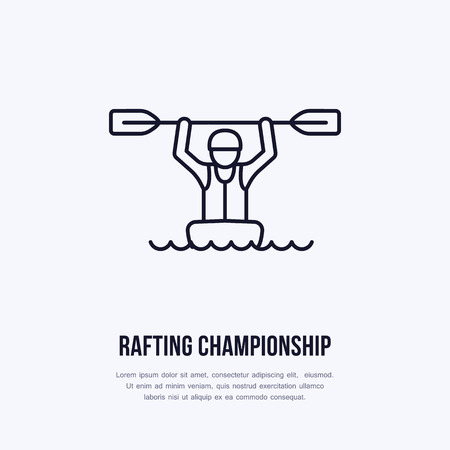 rafter: Rafting, kayaking flat line icon. Vector illustration of water sport - happy rafter with paddle in river boat. Linear sign, summer recreation pictograms for paddling gear store.