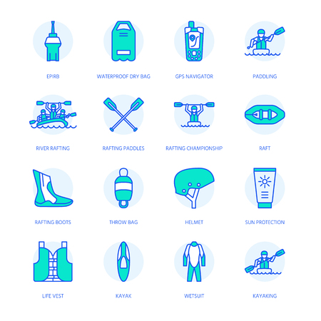 Rafting, kayaking flat line icons. Vector illustration of water sport equipment - river raft, kayak, canoe, paddles, life vest. Stock Vector - 81125772