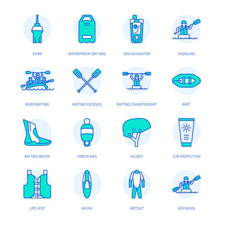 Rafting, kayaking flat line icons. Vector illustration of water sport equipment - river raft, kayak, canoe, paddles, life vest. Illustration