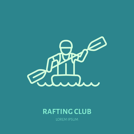 rafter: Rafting, kayaking flat line icon. Vector illustration of water sport - rafter with paddle in river boat. Linear sign, summer recreation pictograms for paddling gear store.