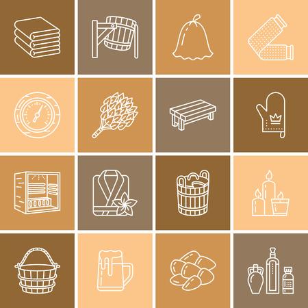 Sauna, steam bath line icons. Bathroom equipment birch, oak birch, bucket. Hammam, japanese, finnish, russian, infrared sauna sign.