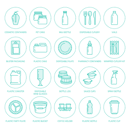 blanc: Plastic packaging, disposable tableware line icons. Product packs, container, bottle, packet, canister, plates and cutlery. Container thin linear signs for shop or synthetic material goods production.