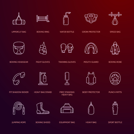 groin: Boxing vector line icons. Punchbag, boxer gloves, ring, heavy bags, punching mitts. Sport training signs set, box championship pictogram with editable stroke for club, equipment store. Stock Photo