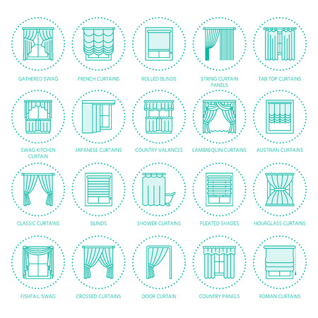 A window curtains, shades line icons. Various room darkening decoration, lambrequin, swag, french curtain, blinds and rolled panels. Interior design thin linear signs for house decor shop. Illustration