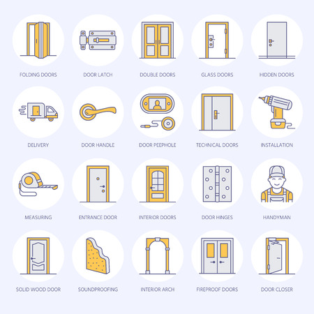 peephole: Doors installation, repair line icons. Various door types, handle, latch, lock, hinges. Interior design thin linear signs for house decor shop, handyman service.