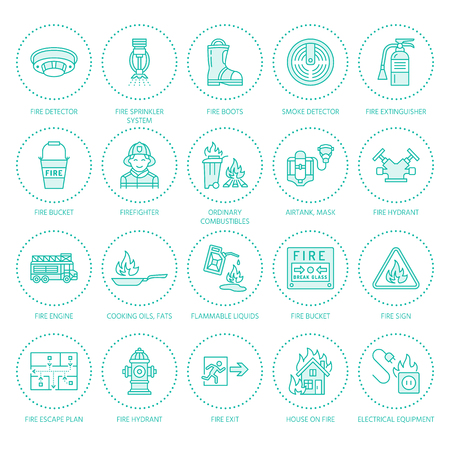 Firefighting, fire safety equipment flat line icons. Firefighter, fire engine extinguisher, smoke detector, house, danger signs, firehose. Flame protection colored thin linear pictogram. Illustration