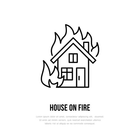 House on fire flat line sign for insurance service. Flame protection thin linear icon, pictogram. Black isolated on white background.