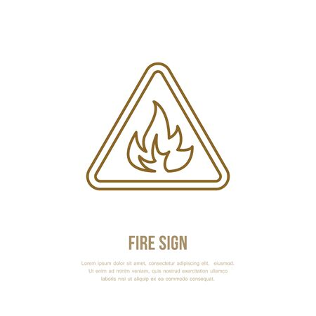 Fire danger flat line sign. Flame protection thin linear icon, pictogram. Vector isolated on white background.
