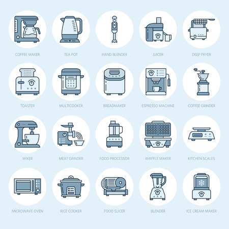 ice tea: Kitchen small appliances line icons. Household cooking tools signs. Food preparation equipment - blender, coffee machine, microwave, toaster, meat grinder. Thin linear signs for electronics store. Stock Photo