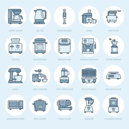 meat  grinder: Kitchen small appliances line icons. Household cooking tools signs. Food preparation equipment - blender, coffee machine, microwave, toaster, meat grinder. Thin linear signs for electronics store. Illustration