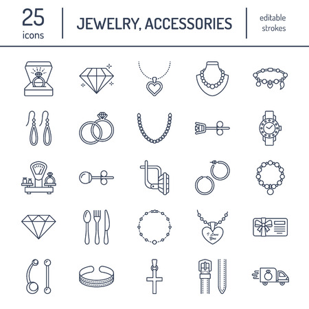 Jewelry flat line icons
