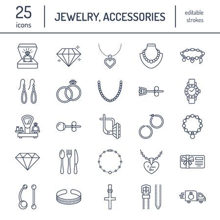 Jewelry flat line icons