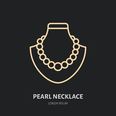 Pearl necklaces on dummy illustration. Jewelry flat line icon, jewellery store logo. Jewels accessories sign. Иллюстрация