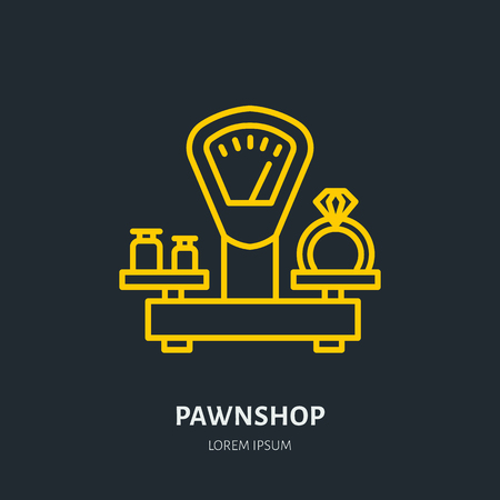 Ring on scales in pawnshop illustration Иллюстрация