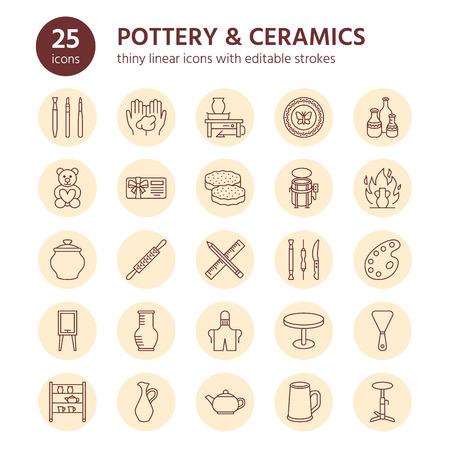 Laboratorio di ceramica, icone di linea delle classi di ceramica. Segni dello strumento in argilla. Costruzione a mano, attrezzature per la scultura - ruota a vasaio, forno elettrico, utensili. Segni lineari sottili per negozio d'arte. Vettoriali