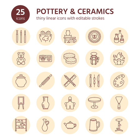 Pottery workshop, ceramics classes line icons. Clay studio tools signs. Hand building, sculpturing equipment - potter wheel, electric kiln, tools. Thin linear signs for art shop.