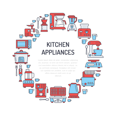 Kitchen small appliances equipment banner illustration Illustration