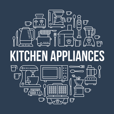 Kitchen small appliances equipment banner illustration. Vector line icon of household cooking tools - blender, mixer, food processor, coffee machine, microwave, toaster. Electronics circle template.