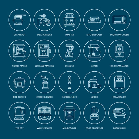 Kitchen small appliances line icons. Household cooking tools signs. Food preparation equipment - blender, coffee machine, microwave, toaster, meat grinder. Thin linear signs for electronics store. Illustration