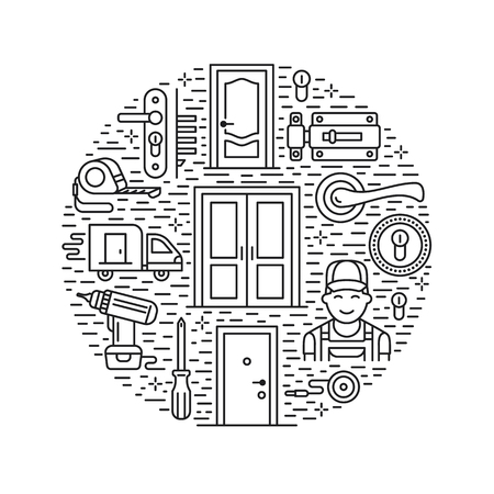 peephole: Doors installation, repair banner illustration. Vector line icons of various door types, handle, latch, lock, hinges. Circle template with thin linear signs for house decor shop, handyman service.