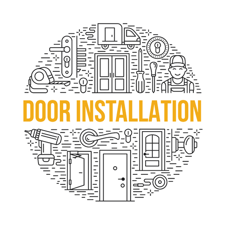 peephole: Doors installation, repair banner illustration. Vector line icons of various door types, handle, latch, lock, hinges. Circle template with thin linear signs for interior design shop, handyman service.