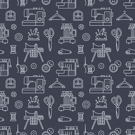 Sewing equipment, tailor supplies seamless pattern with flat line icons set. Needlework accessories - sewing embroidery machine, pin, needle, thread, DIY tools. Linear signs for hand made store. Stock Illustratie