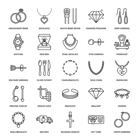 Jewelry flat line icons, jewellery store signs. Jewels accessories - gold engagement rings, gem earrings, silver chain, engraving necklaces, brilliants. Thin linear signs for fashion store. Imagens
