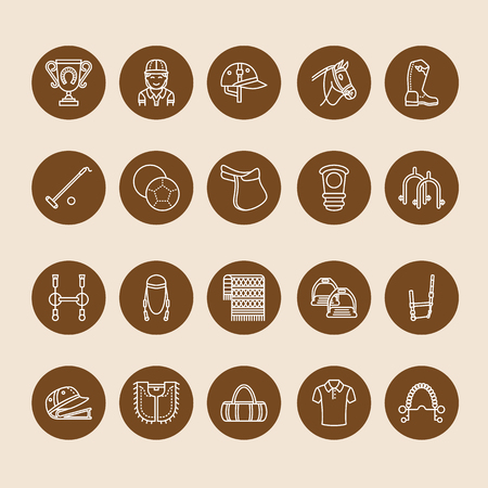 Horse polo flat line icons. Vector illustration of horses sport game, equestrian equipment - saddle, leather boots, harness, spurs. Linear signs set, championship pictograms for event, gear store.