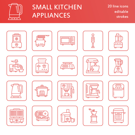 Kitchen small appliances line icons. Household cooking tools signs. Food preparation equipment - blender, coffee machine, microwave, toaster, meat grinder. Thin linear signs for electronics store. Stock Photo