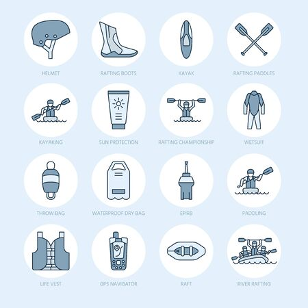 rafter: Rafting, kayaking flat line icons. Vector illustration of water sport equipment - river raft, kayak, canoe, paddles, life vest. Linear signs set, summer recreation pictograms for paddling gear store.