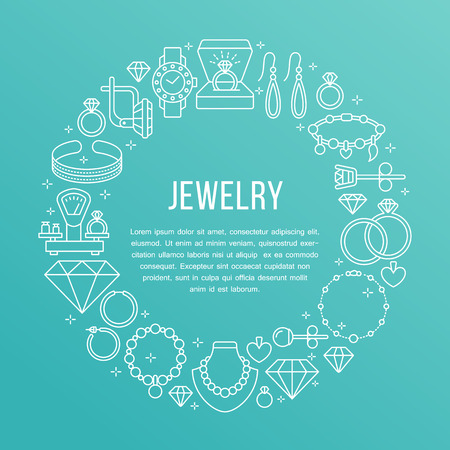 Jewelry shop, diamond accessories banner illustration. Vector line icon of jewels - gold engagement rings, gem earrings, silver necklaces, brilliant. Fashion store circle template with place for text. Vetores