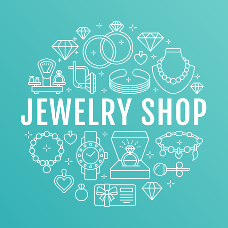 A Jewelry shop, diamond accessories banner illustration. Vector line icon of jewels - gold engagement rings, gem earrings, silver necklaces, charms bracelets, brilliants. Fashion store circle template. Çizim